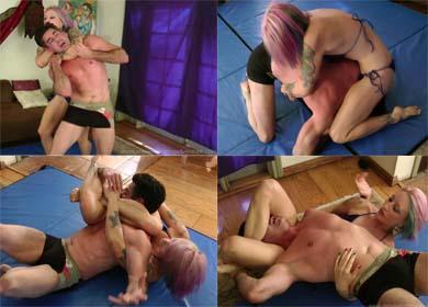 Liz versus Steve wrestling